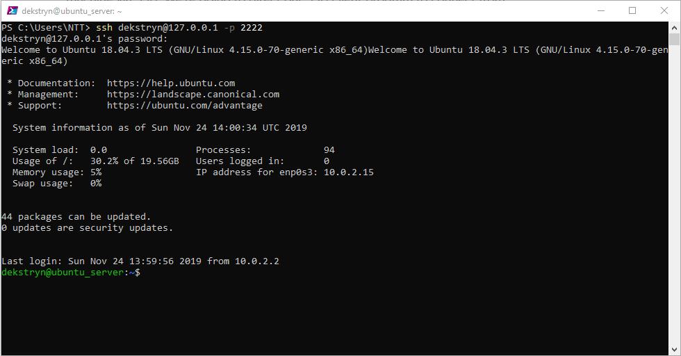 Logowanie na serwer za pomocą konsoli.