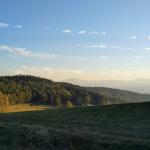 Górska polana i zalesione wzgórze.