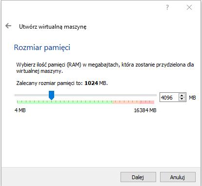 Okienko z możliwością ustawienia pamięci RAM dla wirtualnej maszyny.