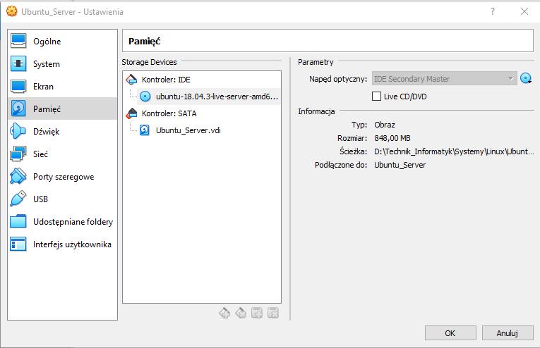 Usuwanie obrazu ISO z wirtualnego napędu CD/DVD.